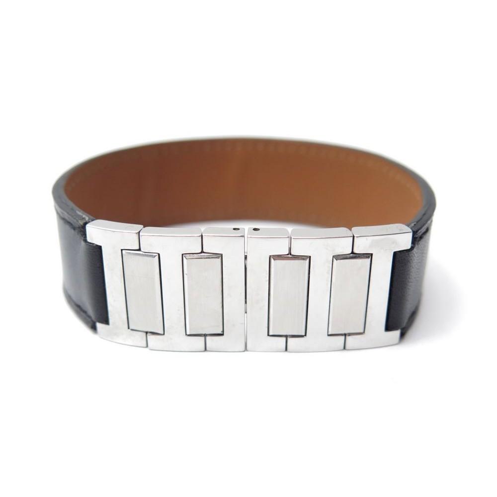 ... inexpensive bracelet hermes boucle deployante t 18 en cuir noir acier  jewel leather 350. loading 153abefe493