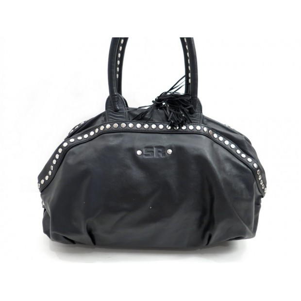 sac a main sonia rykiel rock en cuir noir cloute. Black Bedroom Furniture Sets. Home Design Ideas