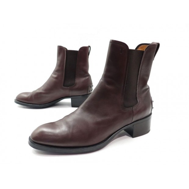 be4b13e78046 chaussures bottines tod s 38.5 it 39.5 fr cuir marron