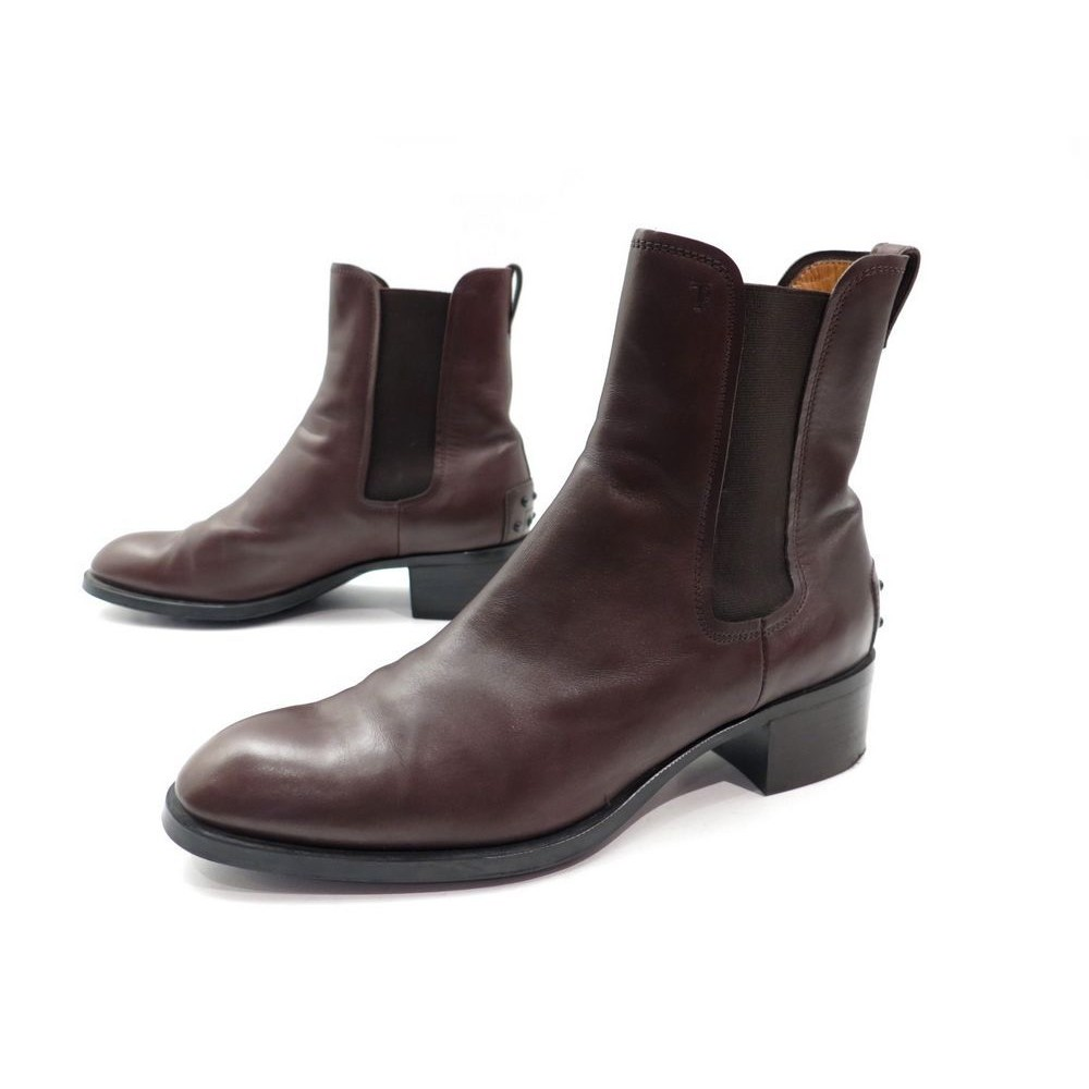 6fac45625cfac9 BOTTINES TOD'S FEMME 38.5 IT 39.5 FR CUIR MARRON. Loading zoom