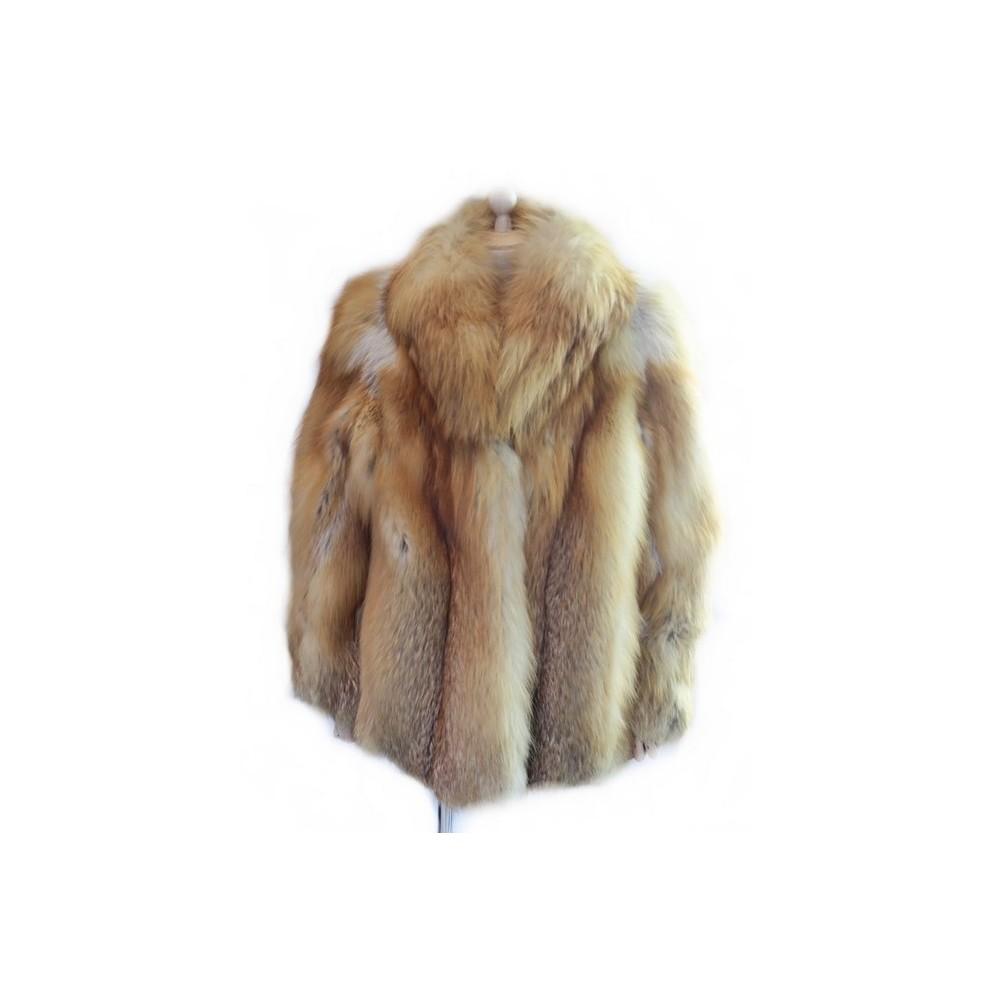 manteau court en fourrure de renard roux 42 l. Black Bedroom Furniture Sets. Home Design Ideas