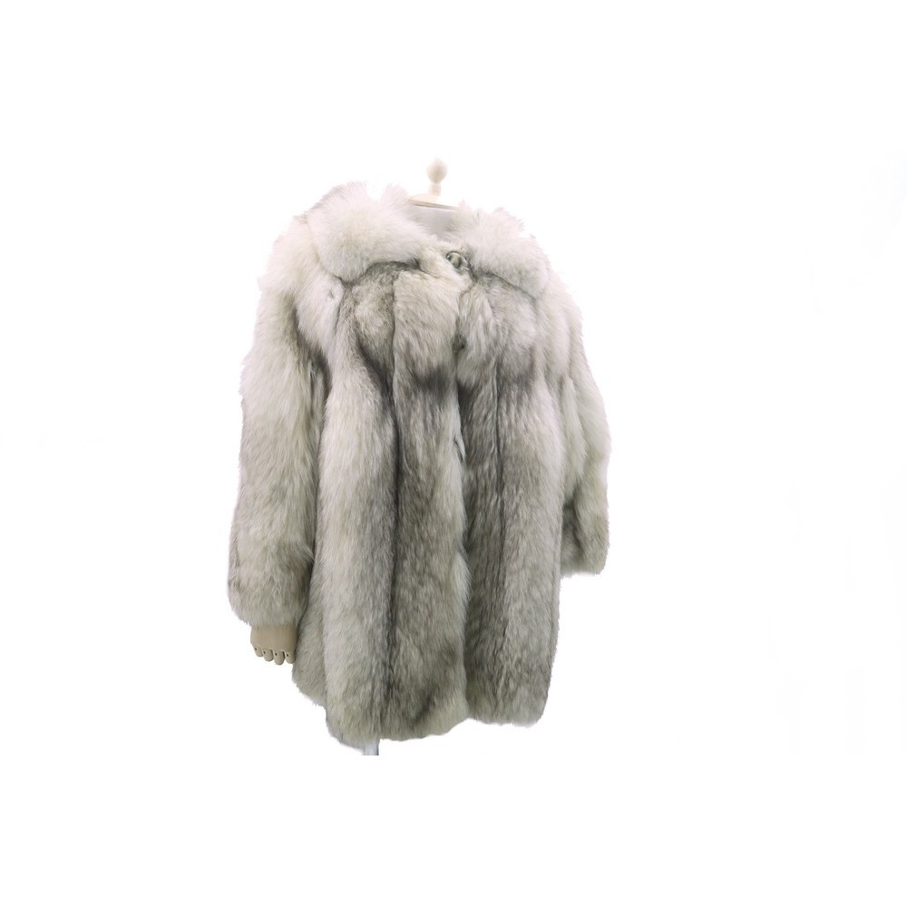 manteau en fourrure renard argente ecru 42 l. Black Bedroom Furniture Sets. Home Design Ideas