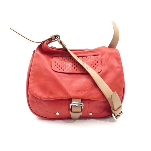 Sac a main besace rouge : Sac a main longchamp besace bandouliere cuir rouge