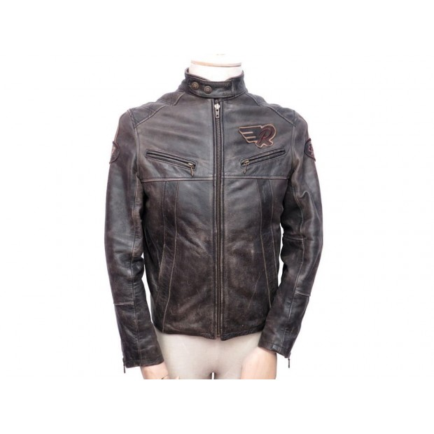 blouson de moto redskins m 48 en cuir vieilli motard. Black Bedroom Furniture Sets. Home Design Ideas
