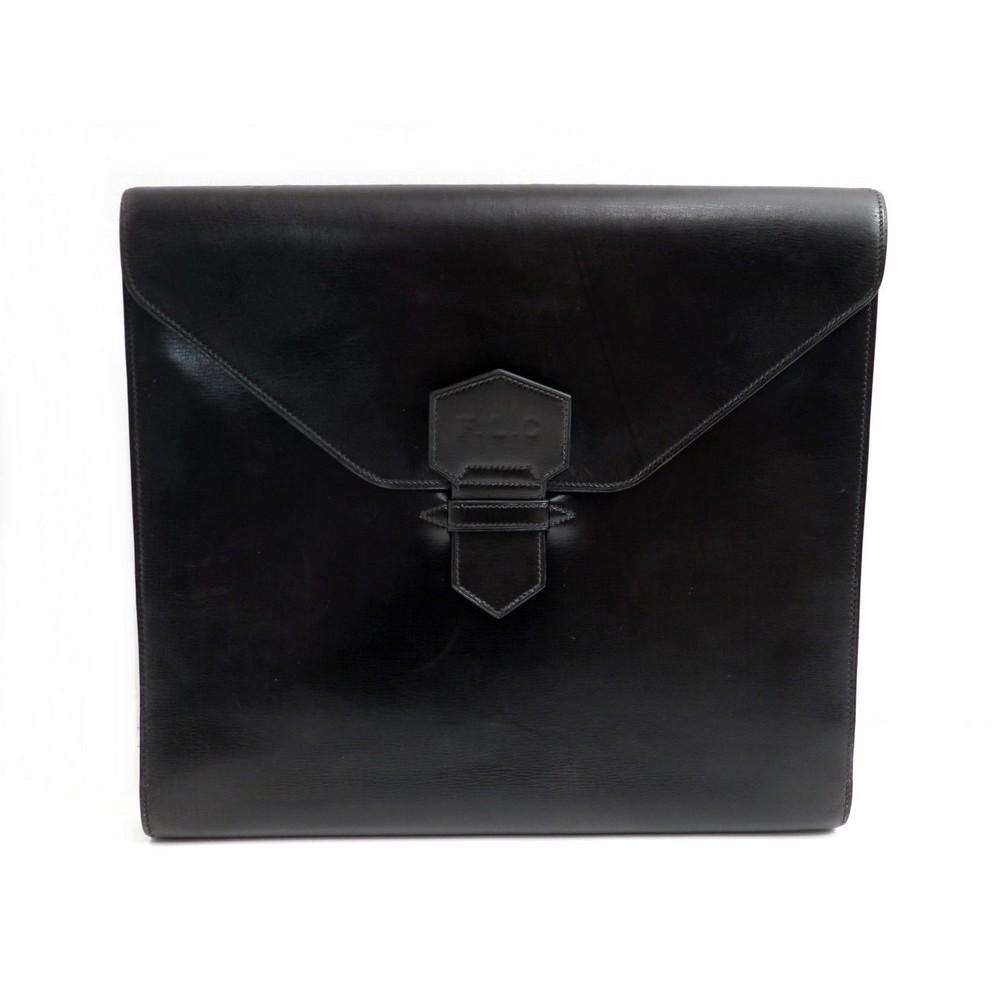 VINTAGE PORTE DOCUMENT HERMES CUIR BOX NOIR 24 FAUBOURG. Loading Zoom