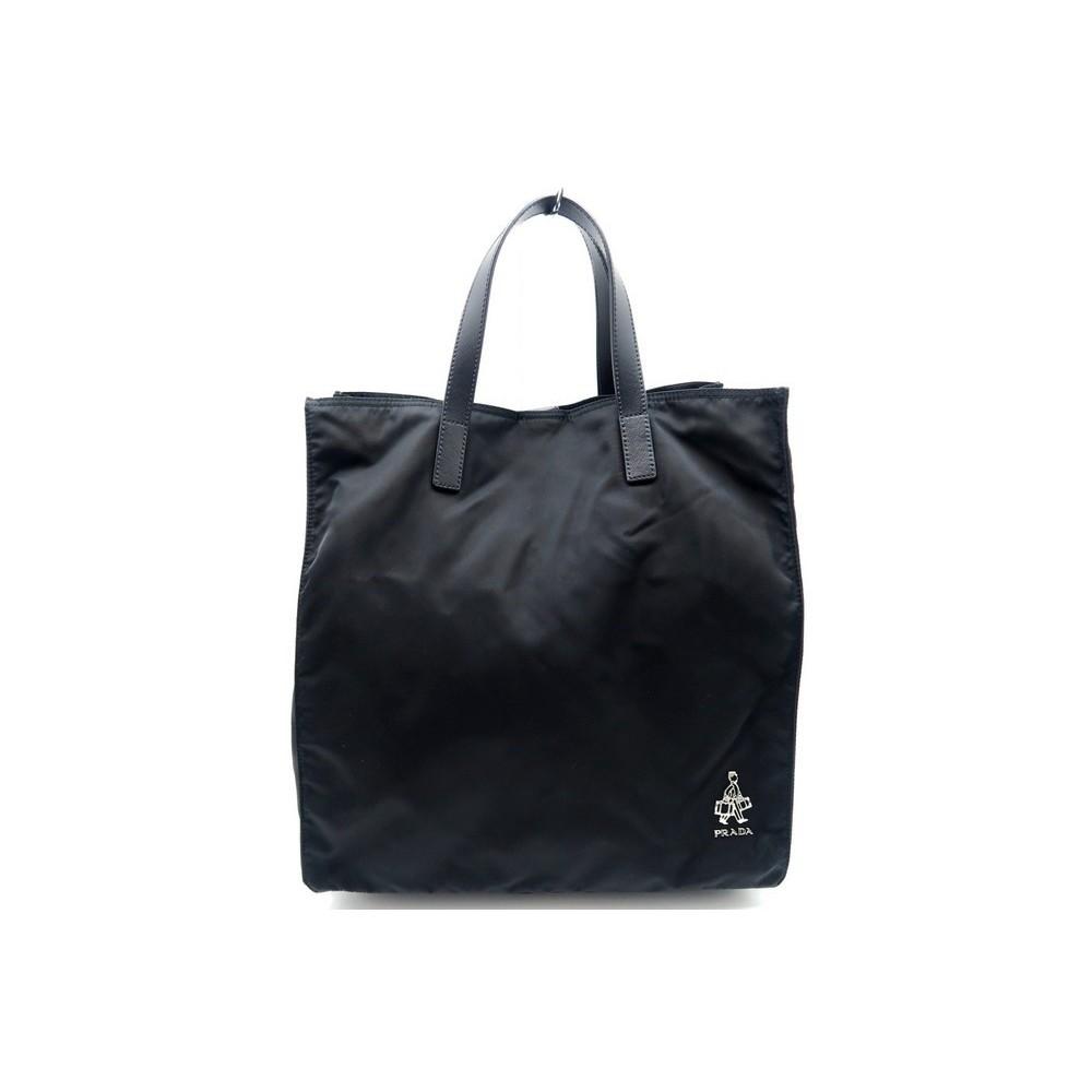 sac a main prada cabas groom 35 cm en toile noir. Black Bedroom Furniture Sets. Home Design Ideas