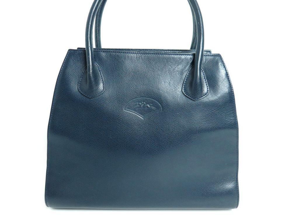 cf77a94a495 sac a main longchamp cabas epaule en cuir bleu