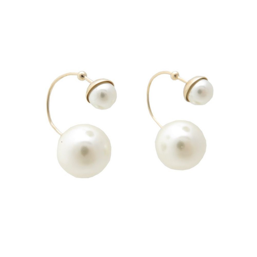 Boucle d'oreille 2 perles dior