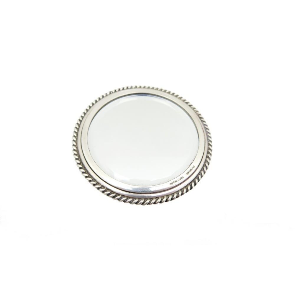 Miroir de poche tiffany co rond en argent massif for Miroir de poche