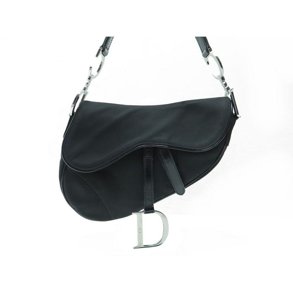Sac A Main Blanc Christian Dior : Sac a main christian dior saddle en toile noir