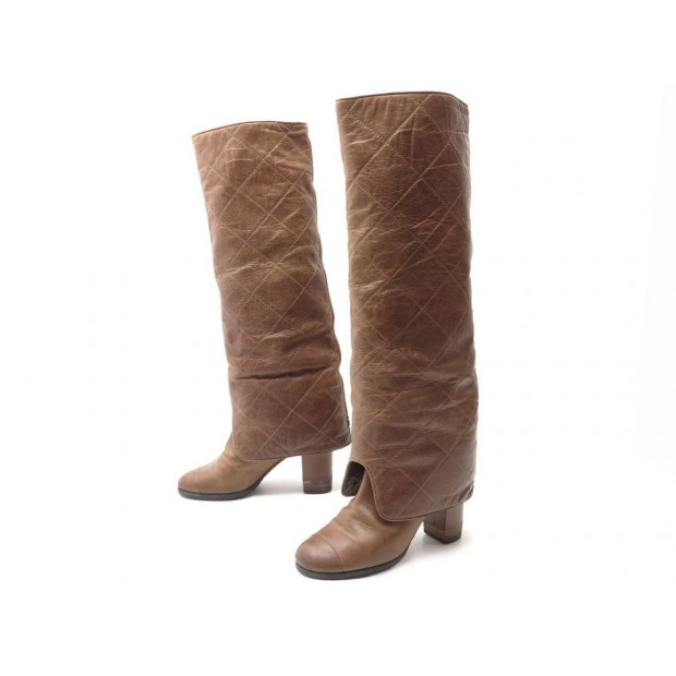 2cc16bd0be8 CHAUSSURES CHANEL BOTTES GUETRES MATELASSEES 28029 37.5 CUIR CAMEL BOOTS  1300 u20ac ...