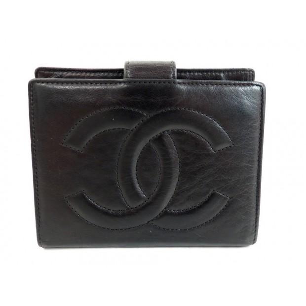 portefeuille porte monnaie chanel en cuir noir logo cc. Black Bedroom Furniture Sets. Home Design Ideas