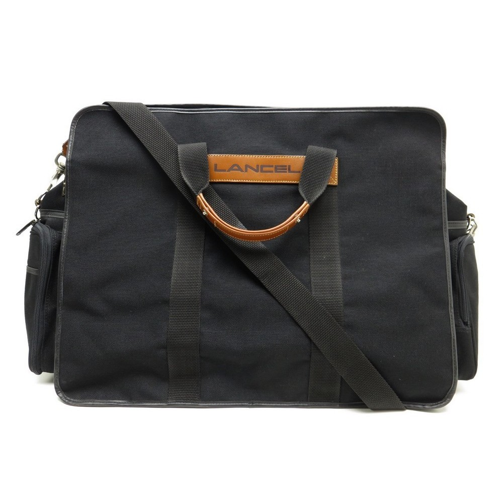 sac de voyage a main lancel 60 cm en toile noir. Black Bedroom Furniture Sets. Home Design Ideas