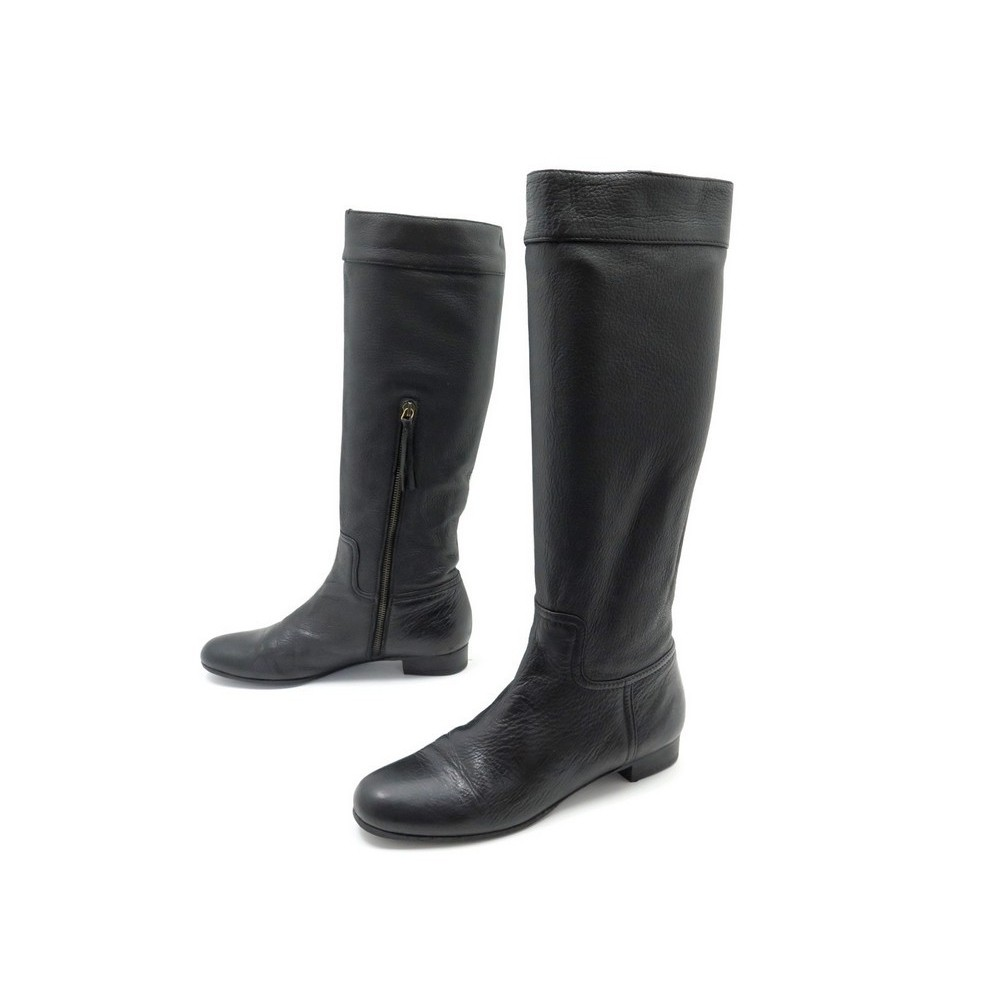 chaussures miu miu 38 5 bottes cavalieres en cuir noir. Black Bedroom Furniture Sets. Home Design Ideas