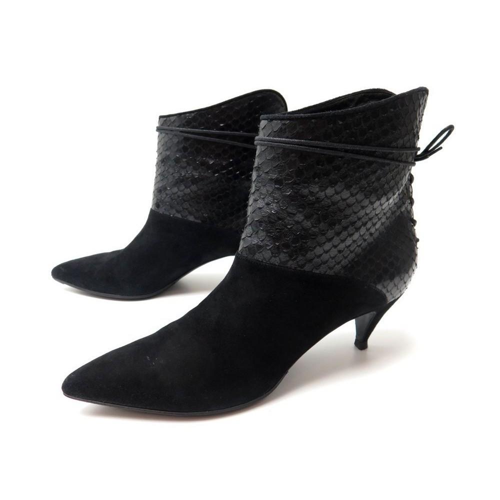 chaussures saint laurent 359006 39 bottines cuir. Black Bedroom Furniture Sets. Home Design Ideas