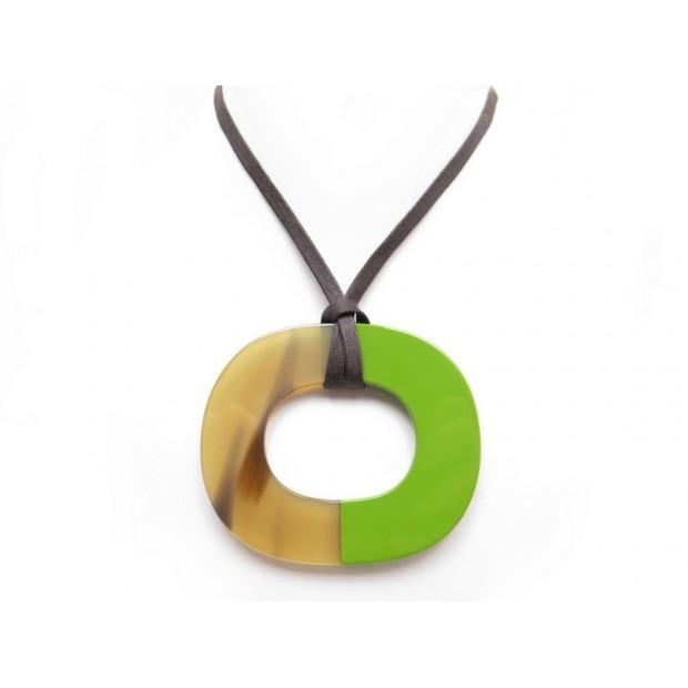 Collier hermes isthme en laque corne de buffle neuf pendentif hermes isthme bijou rond corne collier pendant necklace jewel aloadofball Gallery