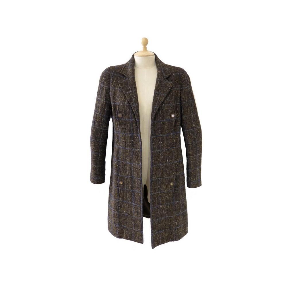 Manteau femme tweed marron