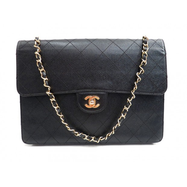 SAC A MAIN CHANEL TIMELESS 30 CM EN CUIR GRAINE CAVIAR NOIR HAND BAG PURSE 4750€