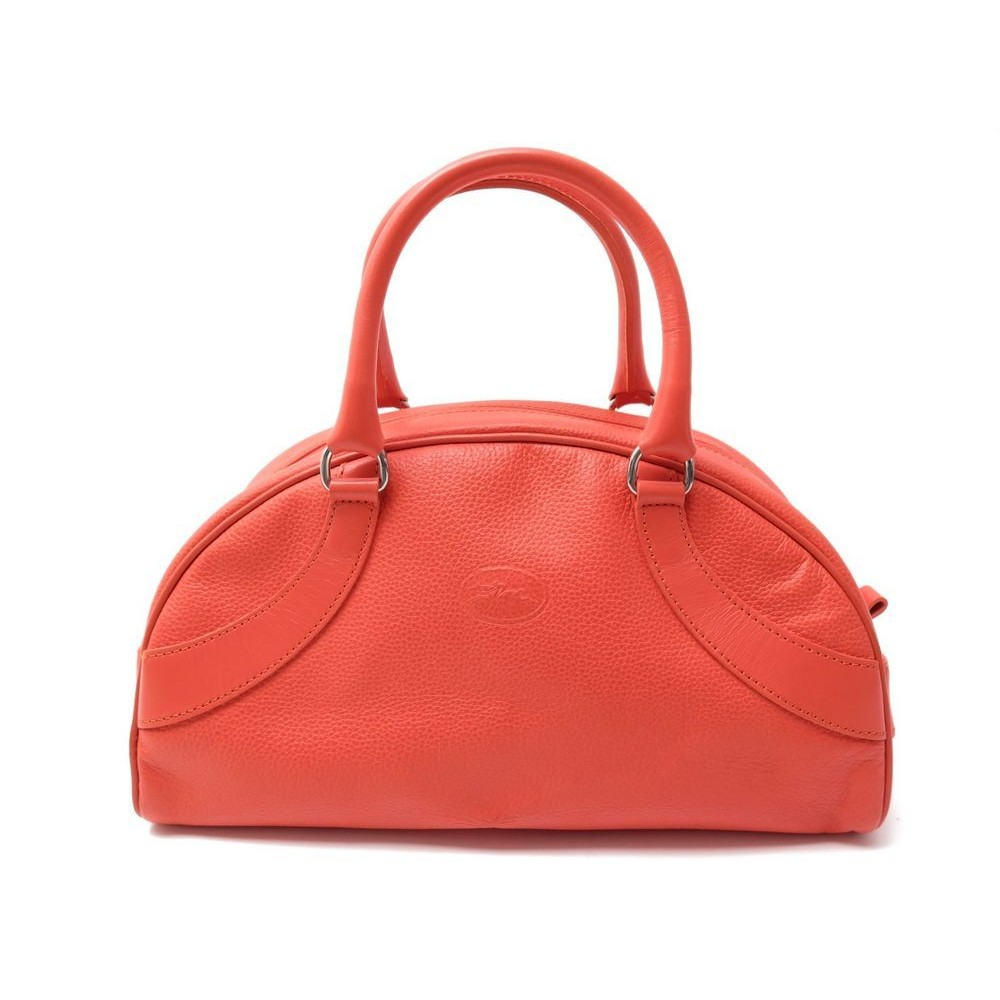 Sac A Main Longchamp Bowling En Cuir Graine Orange