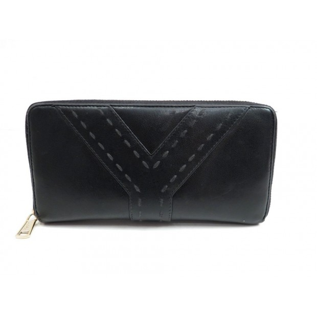 PORTEFEUILLE YVES SAINT LAURENT 177526 EN CUIR NOIR LEATHER WALLET BILLFOLD 500€