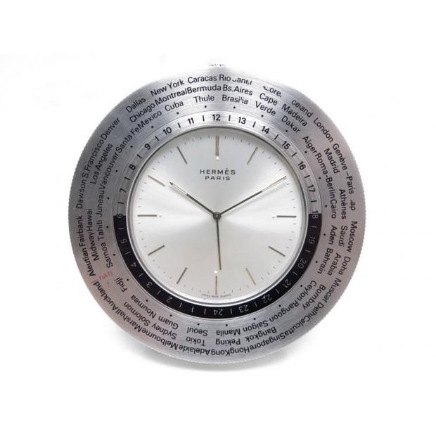 VINTAGE PENDULETTE REVEIL HERMES WORLD TIME GMT EN ACIER ALARM CLOCK SILVER