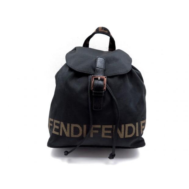 SAC A MAIN A DOS FENDI 23 CM EN TOILE MONOGRAMME CUIR NOIR HAND BAG BACKPACK