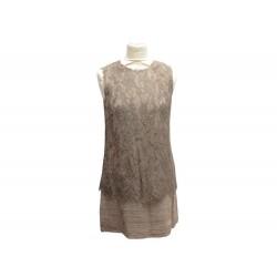 ROBE DOLCE & GABBANA EN DENTELLE 40 IT 38 M VISCOSE & COTON MARRON DRESS 1850€
