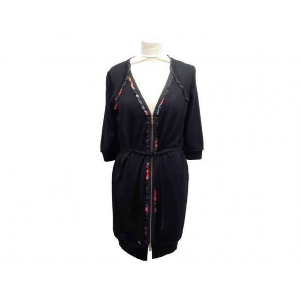 ROBE LOUIS VUITTON ZIPPEE T 38 M EN CACHEMIRE LAINE & SOIE NOIRE DRESS 1600€