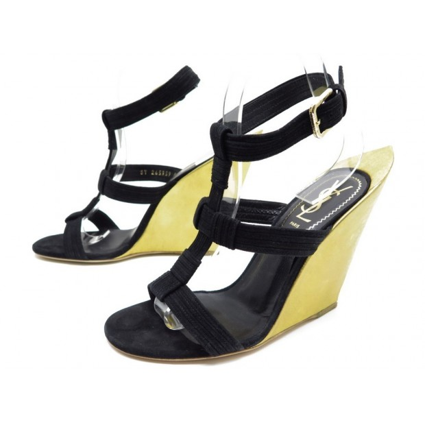 NEUF CHAUSSURES YVES SAINT LAURENT TOTEM 265959 37 38 SANDALES COMPENSEES 930€