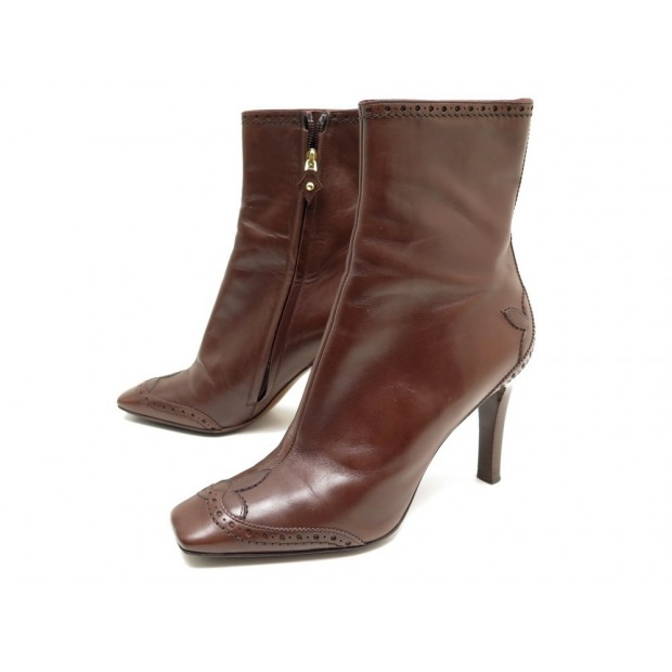 CHAUSSURES LOUIS VUITTON 38.5 BOTTINES CUIR MARRON BROWN LEATHER LOW BOOTS 950€