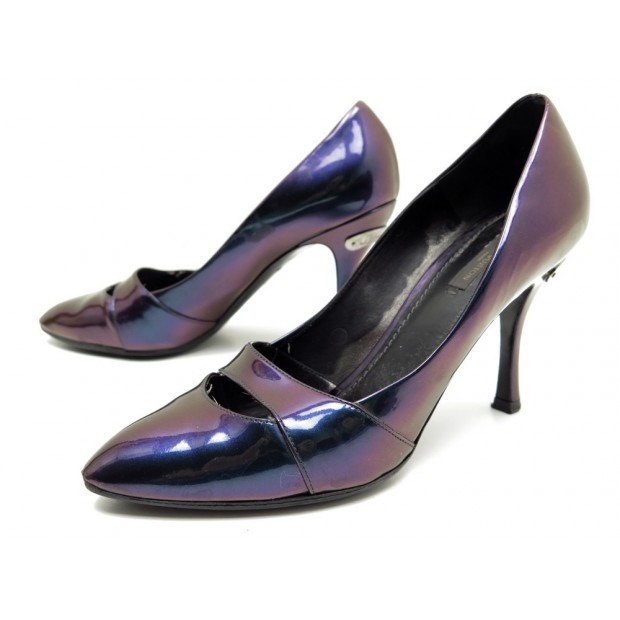 CHAUSSURES LOUIS VUITTON 38.5 ESCARPINS EN CUIR VERNI BLEU IRISE SHOES PUMP 550€