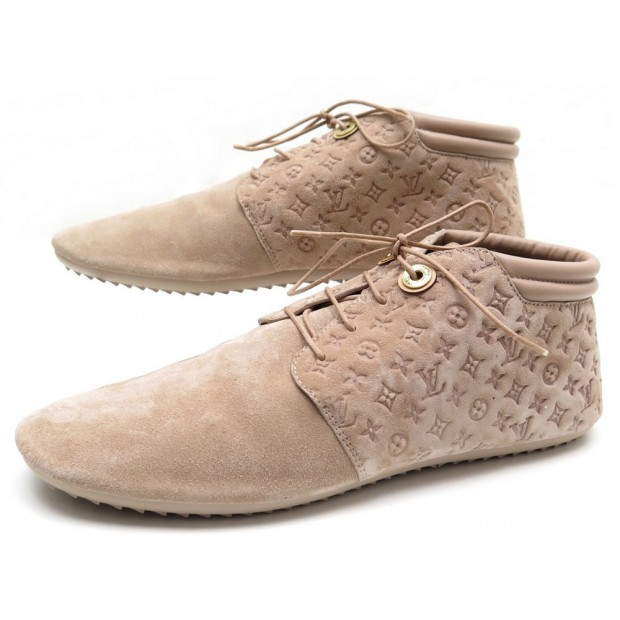 NEUF CHAUSSURES BASKETS LOUIS VUITTON 40 PACE SNEAKERS ROSE LOW BOOTS DAIM 590€