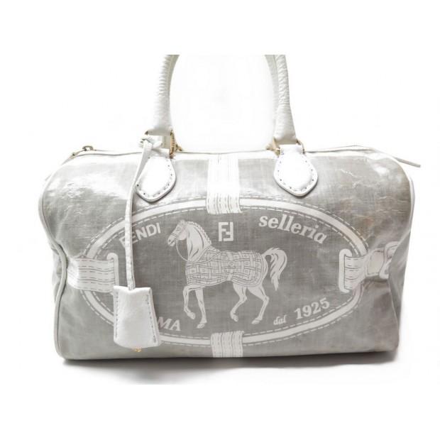 SAC A MAIN FENDI SELLERIA 8BL061 EN TOILE GRISE GRAY CANVAS HAND BAG PURSE 1750€
