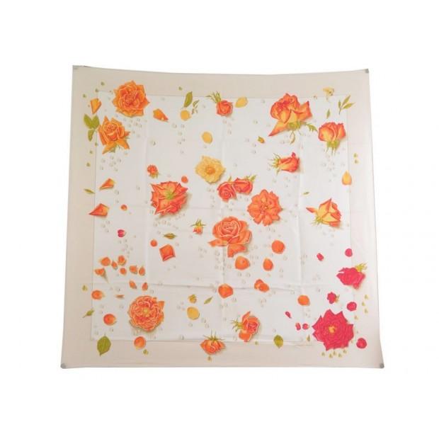 FOULARD HERMES LA ROSEE EN SOIE BEIGE IVOIRE CARRE 90 CM SILK SCARF FLOWERS 360€