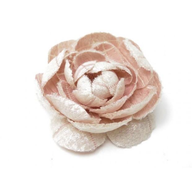 NEUF BROCHE CHANEL FLEUR DE CAMELIA TISSU PAILLETTE ROSE PINK BROOCH FLOWER 590€