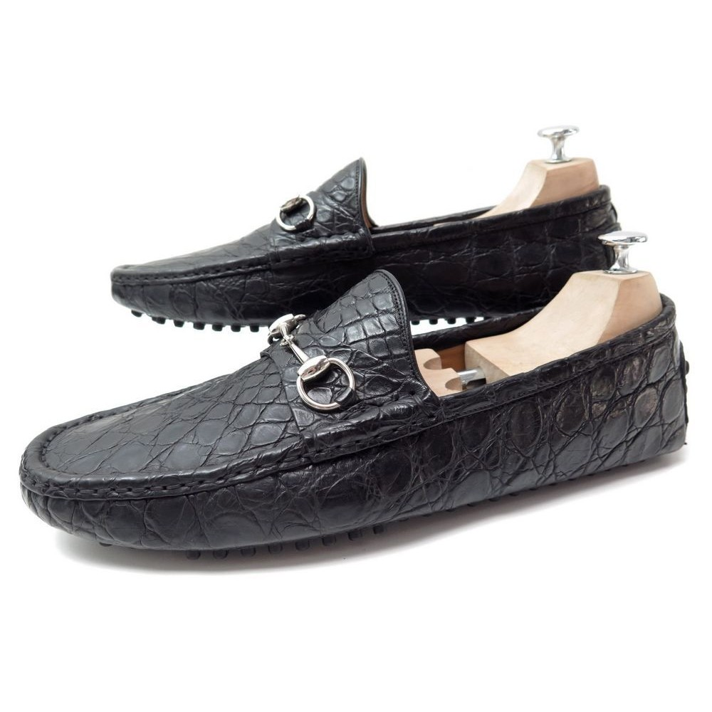 CHAUSSURES GUCCI MOCASSIN CROCODILE NOIR 10.5. Loading zoom b01ce66b029