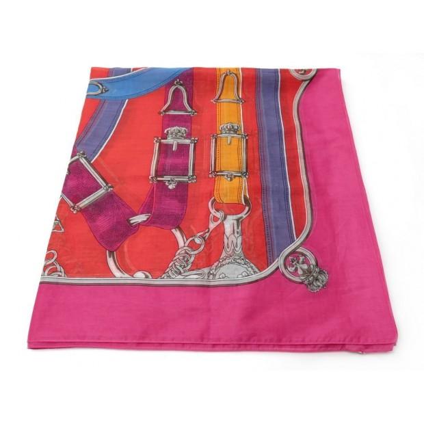NEUF PAREO DE PLAGE HERMES BRIDES LIENS EN COTON ROSE BEACH SKIRT TOWEL 400€