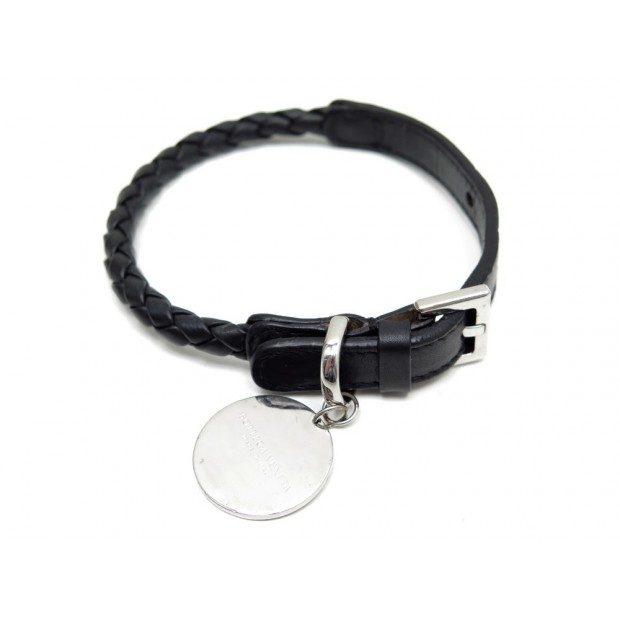 COLLIER POUR CHIEN BOTTEGA VENETA CUIR TRESSE NOIR 24 A 29 CM DOG NECKLACE 275€