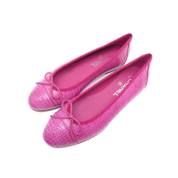 NEUF CHAUSSURES CHANEL BALLERINES G29910 38.5 CUIR CROCODILE ALIGATOR ROSE 5300€