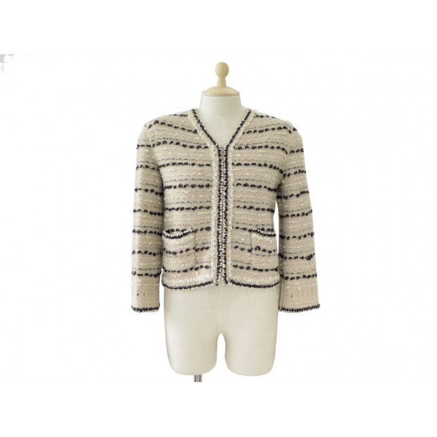 NEUF CARDIGAN CHANEL TAILLE 38 M EN TWEED LAINE & CACHEMIRE MARRON JACKET 4200€