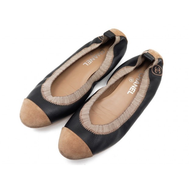 CHAUSSURES CHANEL G26642 BALLERINES 40.5 EN CUIR & DAIM NOIR FLAT SHOES 540€