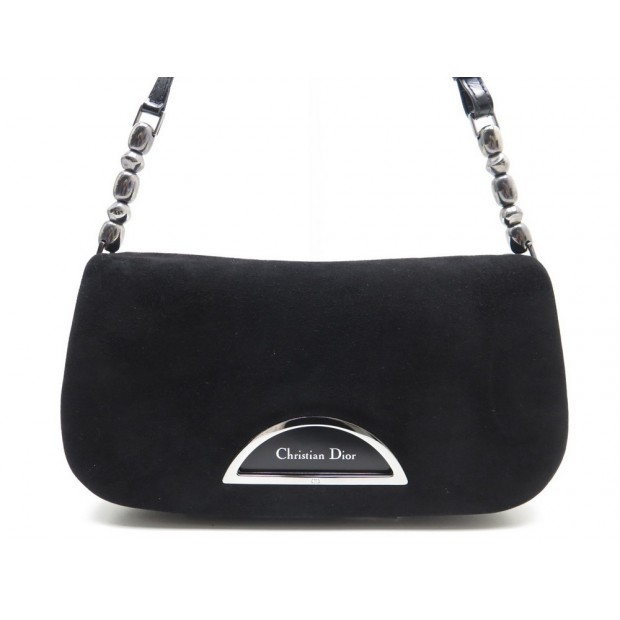 NEUF SAC A MAIN CHRISTIAN DIOR MALICE EN VEAU VELOURS NOIR HAND BAG PURSE 600€