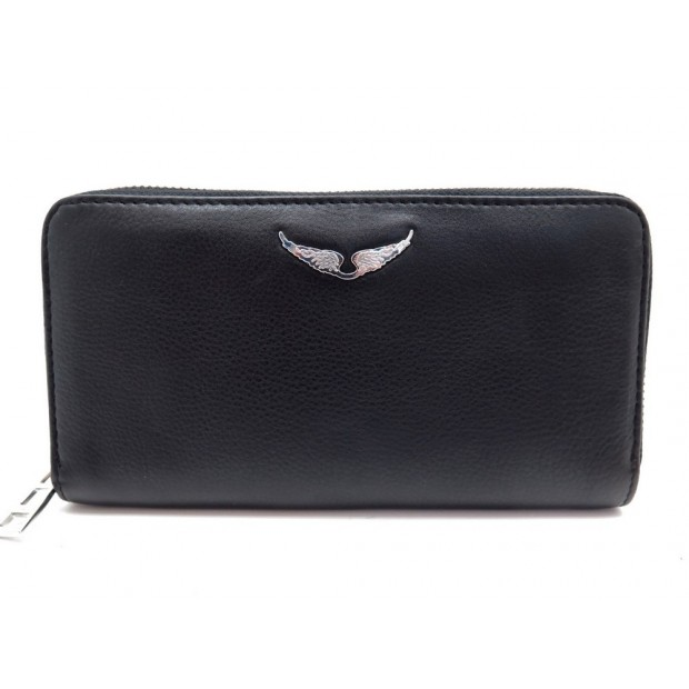 NEUF PORTEFEUILLE ZADIG & VOLTAIRE COMPAGNON SKULL CUIR WALLET BILLFOLD 185€