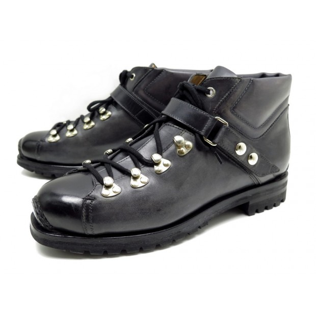 NEUF CHAUSSURES SANTONI QUENNEL II 9 43 BOTTINES EN CUIR GRIS HIKING BOOTS 1160€