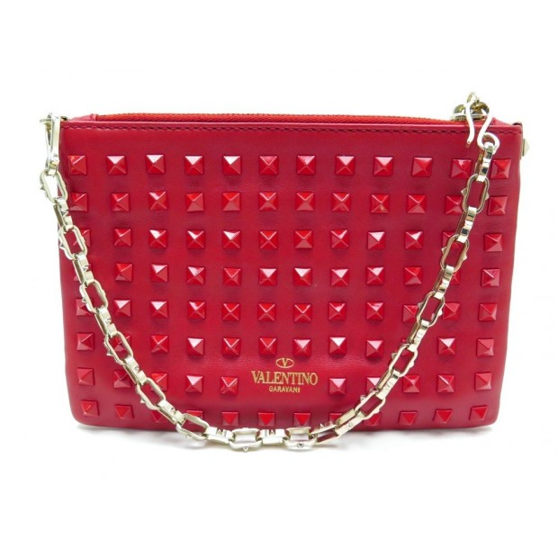 NEUF POCHETTE SAC A MAIN VALENTINO ROCKSTUD ROUGE EN CUIR CLOUTE RED POUCH 890€