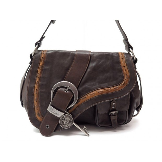 SAC A MAIN CHRISTIAN DIOR GAUCHO EN CUIR MARRON BROWN LEATHER HAND BAG 1800€