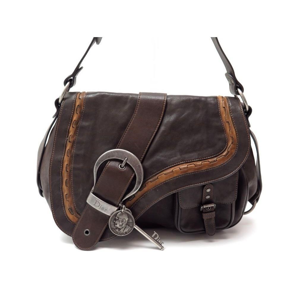 88b752ecd8 sac a main christian dior gaucho en cuir marron brown