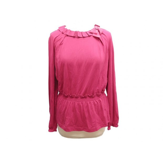 NEUF HAUT LOUIS VUITTON TUNIQUE RIBBON 40 L TOP EN COTON SOIE FUSHIA TSHIRT 750€