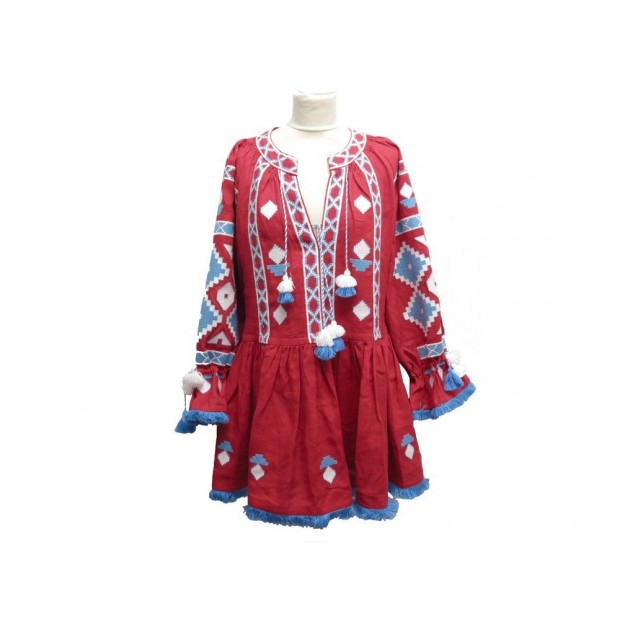 NEUF ROBE MARCH II 11 T 36 S EN LIN ROUGE & BLEU POMPON RED LINEN DRESS 715€