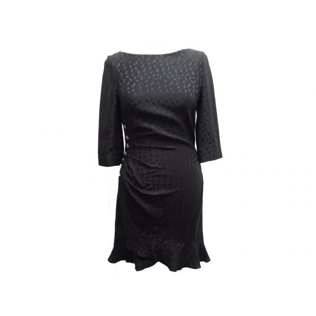 NEUF ROBE AZZARO JILLIAN LEOPARD T36 M SOIE JACQUARD NOIRE BLACK SILK DRESS 950€